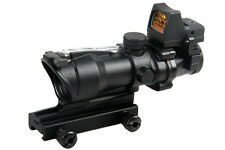 4X32 Tactical ACOG Style Red Green Real Fiber Rifle Scope W/ RMR Red Dot Sight