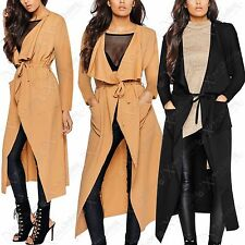 NEW LADIES WATERFALL LONG JACKET WOMENS CREPE DRAPE LONG SLEEVE BELTED FRONT