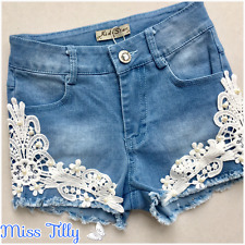 💖 Girls Denim Summer Shorts Lace Trim Ages 4-14 Kids Teenager Holiday New