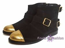 Balmain H&M Women Real Suede Leather Gold Toe Buckle Ankle Boots EU 38 39 UK 5 6