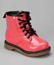 Coco Jumbo Coral Patent Jane Boots Big Girls Size 4.5-7 Y