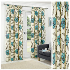 Curtains Teal Ready Made Tape Top Pencil Pleat Lined  Flowery Floral Print New