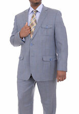 Apollo King Blue Tweed Windowpane Two Button Safari Style Suit With Patch Pocket