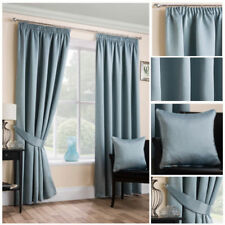 Curtains Satin Soft Feel Designer Tape Top Pencil Pleat Duck Egg Blue Ready Made