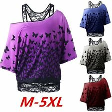 Sexy One Shoulder Butterfly Prints Lace Blouse T-shirt Women Punk Tops Plus Size