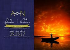 Wedding Notice Nautical Theme Save The Date Card with Your Photo & Details