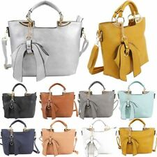 WOMENS NEW FAUX LEATHER BOW ADORNMENT DOUBLE COMPARTMENT TOTE BAG