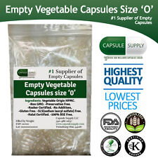 CLEAR VEGETARIAN VEGETABLE EMPTY CAPSULES SIZE 00/0  Halal/Kosher Non-GMO Vcaps