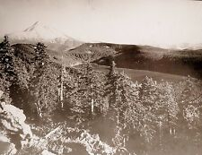Antique PHOTO Bull Run Lake & West View of MT. HOOD OREGON 1890s GLASS SLIDE