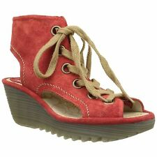 Fly London Yaba702Fly Street Red Womens Open-toe Wedge Sandals Shoes
