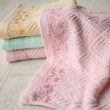 Embroidery Cotton Towels Bath Sheet Face Towel Hand Cloth Solid Color 33*73cm