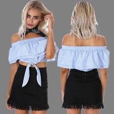 HOT Womens Ladies Off Shoulder Stripe Short Sleeve Ruffle Crop Top Blouse N0F3