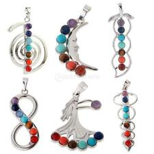 Jewelry Colorful Beads Pendant Necklace Natural Stone Reiki Gemstone DIY Making