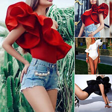 Summer Sexy Beach One Shoulder Ruffles Romper Jumpsuit Cocktail Party Bodysuits☀