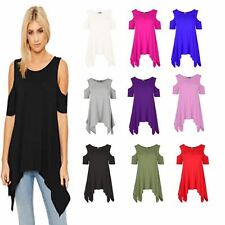 Womens Cut Hot Shoulder Short Sleeves High Low Hem Tunic Top  Mini  Casual Dress