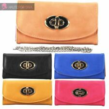 LADIES NEW FAUX LEATHER LARGE CLASP DETAIL SMALL CLUTCH BAG PURSE