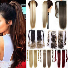 US Real Thick Clip In Hair Extension Pony Tail Wrap Around Ponytail Blonde Brown