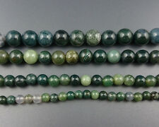 Natural Green Moss Agate Beads Gemstone Smooth Round Spacer Beads 6mm 8mm 10mm