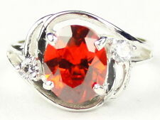 CLEMSON FANS! • SR021, 10x8mm Created Padparadsha Sapphire, Sterling Silver Ring