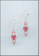 Simple Beauty, Silver Rondelle Earrings w/ Swarovski CORAL SUNSET Crystals