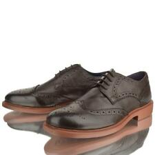 MEN LEATHER BROGUE BROWN CONTRAST LACE UP SMART CASUAL LIGHTWEIGHT SHOES SIZE