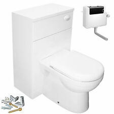 BACK TO WALL WC SUITE UNIT TOILET PAN CISTERN BTW SOFT CLOSE SEAT BATHROOM WHITE