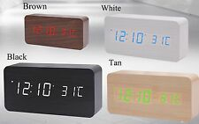 Voice Control Calendar Thermometer Wooden LED Digital Alarm Clock USB/AAA UK