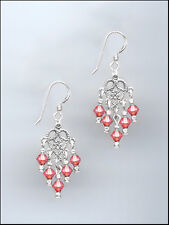 Dainty Silver Filigree Earrings made with Swarovski CORAL SUNSET Crystals