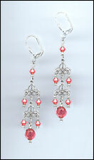 Delicate Silver Filigree Earrings made with Swarovski CORAL SUNSET Crystals