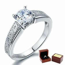 Vintage Style Sterling 925 Silver Wedding Bridal Ring 1 Ct Lab Created Diamond