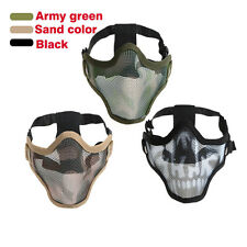 Camouflage Double Belt Half Face Mask Skull Tactical Airsoft Paintball Mesh Mask