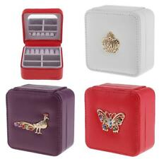 Square Portable Simple Jewelry Box PU Leather Ring Storage Case Necklace Holder