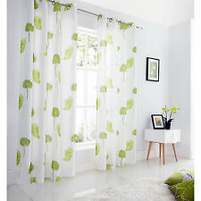 Poppy Fully Lined Voile Curtains - Floral Eyelet Lime Green Voile Curtain Pair
