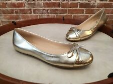 Isaac Mizrahi Piper Gold Leather Snake Cap Toe Ballet Flats NEW