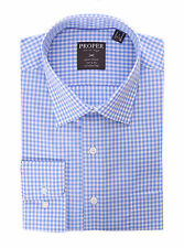 Mens Blue & White Check Spread Collar Wrinkle Free 100 2 Ply Cotton Dress Shirt