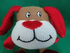 PEACE SIGN I LOVE YOU RED BROWN DANDEE VALENTINE PUPPY DOG SOCK MONKEY PLUSH TOY