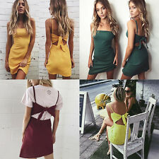 Slim Beach Hot Sexy Sundress Women Short Dress Casual Linen Summer Bow