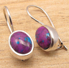 925 Sterling Silver Plated Natural GEMSTONE Highly Polished Nouveau Earrings