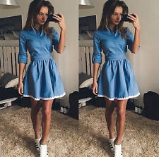 Womens Denim Look Dress Ladies Holiday Party Skater Summer Pleated Mini Dresses