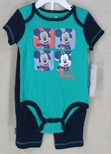 DISNEY MICKEY MOUSE Infant Youth Boy's 2 Piece Set Green Blue 3-6 Mths NEW