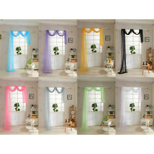 """Simple Sheer Valance Scarf Voile Window Treatment 216"""" Long Over 10 colors"""