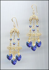 Elegant Gold Filigree Earrings with Swarovski HELIOTROPE PURPLE Crystal Hearts