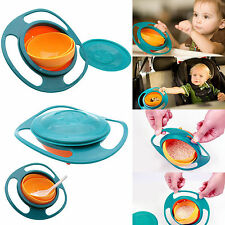 Baby Kid Food Spilling Gyro Bowl Dishes 360 Rotate Non Spill Bowl Dish US Stock
