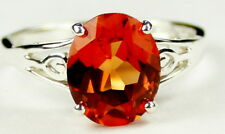 CLEMSON FANS • SR139, 4.5 cts Created Padparadsha Sapphire, Sterling Silver Ring