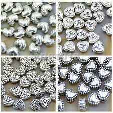 50Pcs Tibetan Silver Heart Metal Pendant Connector Space Charm Beads Findings