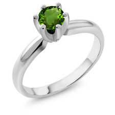 0.50 Ct Round Green Chrome Diopside 925 Sterling Silver Ring
