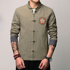 New Men's Casual Chinese Slim Fit 3 Color Coat Single-breasted Jacket M-5XL