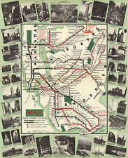 New York Subway Map BMT Rapid Transit Elevated Lines Wall Art Poster Vintage