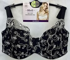 NEW BHS BODY BLISS FULL CUP EMBROIDERED UNDERWIRED BRA BREATHABLE 34DD-40G 3 COL