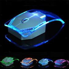 Wireless Optical Mouse Gaming Transparent LED Ultra-thin PC Laptop Game Mice